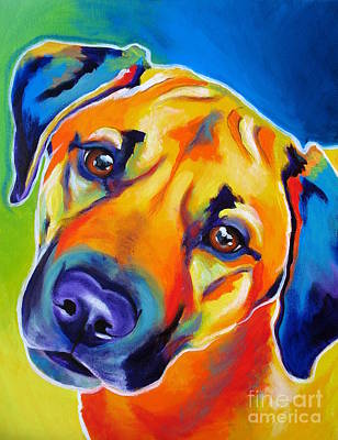 Dawgart Painting - Rhodesian Ridgeback - Puppy Dog Eyes by Alicia VanNoy Call