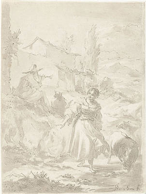 Shepherd Sits On A Rock And Plays Pipe, A Shepherdess Art Print