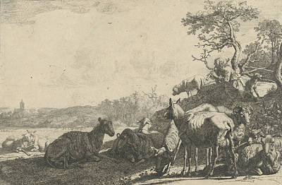 Master Potter Drawing - Shepherd With Dog On A Hill, Playing On A Flute by Artokoloro