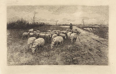Stark Drawing - Shepherd With Flock Of Sheep, Elias Stark by Elias Stark