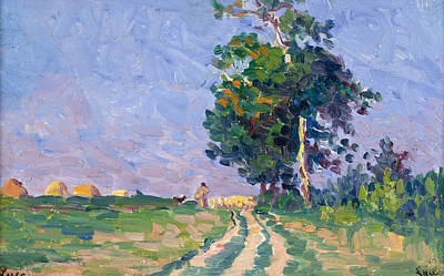 Luce Painting - Shepherd With Flock On The Road In The Outskirts Of Moulineaux by Maximilien Luce