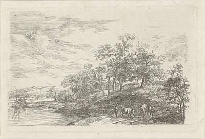 Shepherd With Three Cows, Print Maker Hermanus Fock Art Print