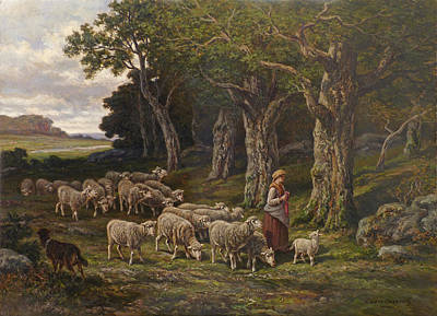 Painting - Shepherdess And Her Flock by David Lloyd Glover