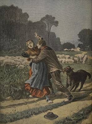 Sheep Drawing - Shepherdess Defended By Her Dog by Henri Meyer