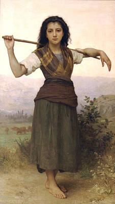Staff Digital Art - Shepherdess by William Bouguereau