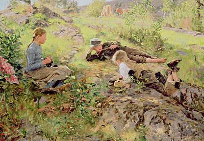 Shepherds Print by Erik Theodor Werenskiold