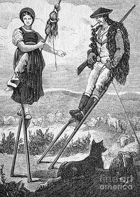 Shepherds On Stilts In France, 1880s Art Print by Bildagentur-online