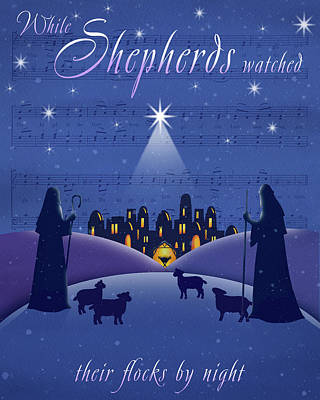 Nativity Painting - Shepherds by P.s. Art Studios