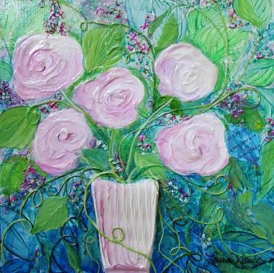 Ceramic Mixed Media - Sherbet Flowers by Laura Nance