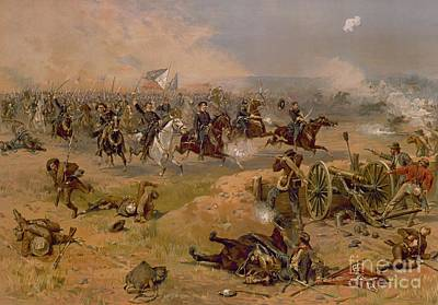 Sheridan's Final Charge At Winchester Art Print by American School