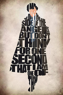 Typographic Digital Art - Sherlock - Benedict Cumberbatch by Ayse and Deniz