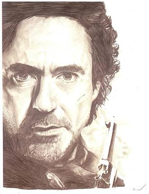 Robert Downey Jr Drawing Drawing - Sherlock by Inkd Custom
