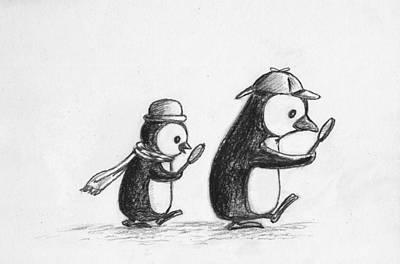 Penguin Digital Art - Sherlock Penguin Detective Agency by Devin Hermanson