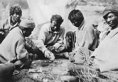 Backgammon Photograph - Sherpas Playing Backgammon by Underwood Archives
