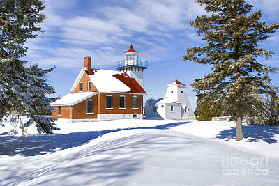 Photograph - Sherwood Point Light And New Snow -  by Daniel Dempster