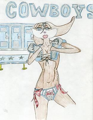 Playboy Drawing - Shes A Cowboy Fan by Bandele Gatson