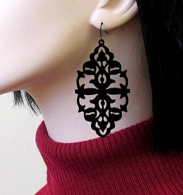 Laser Cut Jewelry Jewelry - She's A Mystery - Victorian Lace Statement Earrings by Rony Bank