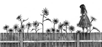 Fence Drawing - She's Walking On Sunshine by J Ferwerda