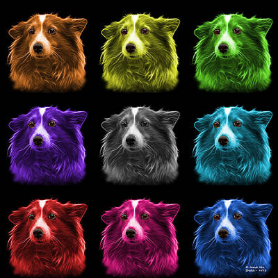 Mixed Media - Shetland Sheepdog Dog Art 9973 - Bb - M by James Ahn