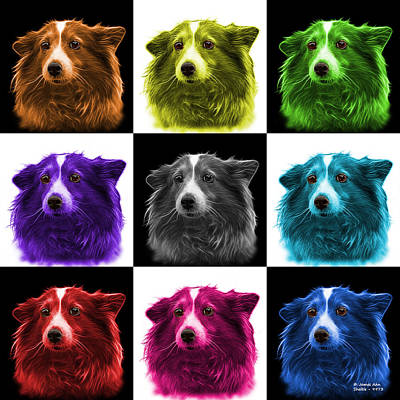 Mixed Media - Shetland Sheepdog Dog Art 9973 - V1 - M by James Ahn
