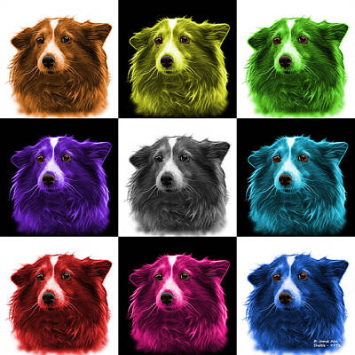 Mixed Media - Shetland Sheepdog Dog Art 9973 - V2 - M by James Ahn