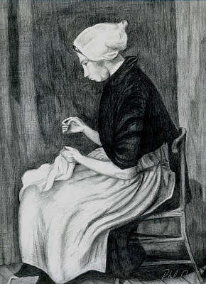 Phil Clark Drawing - Sheveningen Woman Sewing by Phil Clark