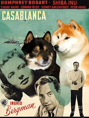 Painting - Shiba Inu Art Canvas Print - Casablanca Movie Poster by Sandra Sij