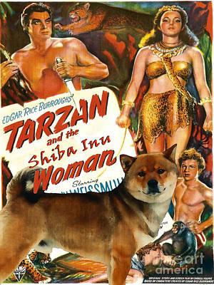 Painting - Shiba Inu Art Canvas Print - Tarzan And Leopard Woman Movie Poster by Sandra Sij