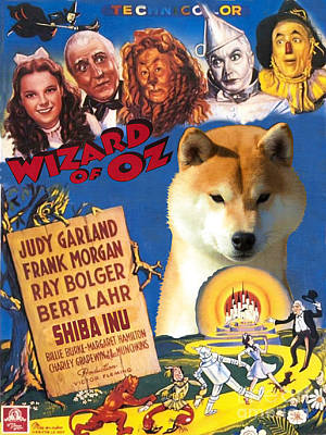 Dog Poster Painting - Shiba Inu Art Canvas Print - The Wizard Of Oz Movie Poster by Sandra Sij
