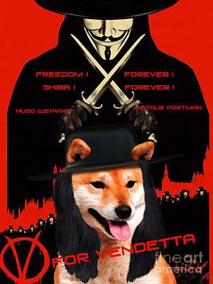 Painting - Shiba Inu Art Canvas Print - V For Vendetta Movie Poster by Sandra Sij