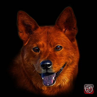 Digital Art - Shiba Inu Dog Art - 8555 - Bb by James Ahn