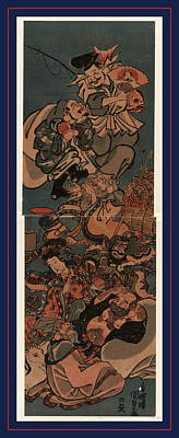 Shichifukujin, The Seven Gods Of Good Luck. Between 1830 Art Print by Utagawa, Toyokuni (1769-1825), Japanese