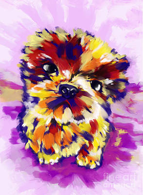 Painting - Shih Txu Puppy by Tim Gilliland