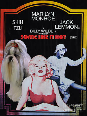Shih Tzu Painting - Shih Tzu Art Canvas Print - Some Like It Hot Movie Poster by Sandra Sij