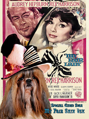 Shih Tzu Painting - Shih Tzu Art Canvas Print - My Fair Lady Movie Poster by Sandra Sij