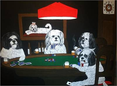 Shih Tzu Poker Art Print by Tammy Rekito