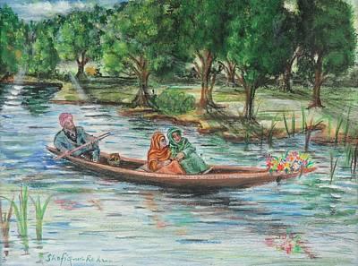 Excursion Mixed Media - Shikara In Dal Lake Kashmir by Shafiq-ur- Rehman