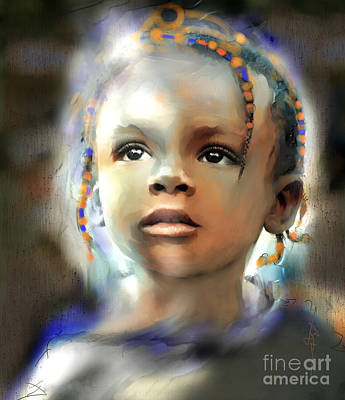 African Child Painting - Shine On Me by Bob Salo