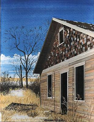 Plains Painting - Shingled House Burleigh County North Dakota by David Wolfer