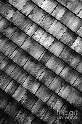 Photograph - Shingles Abstract Black And White by Glenn Gordon