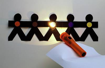 Shining A Torch On Paper Chain Art Print