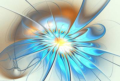 Blooming Digital Art - Shining Blue Flower by Anastasiya Malakhova