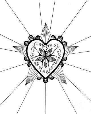 Drawing - Shining Heart Original by E B Schmidt