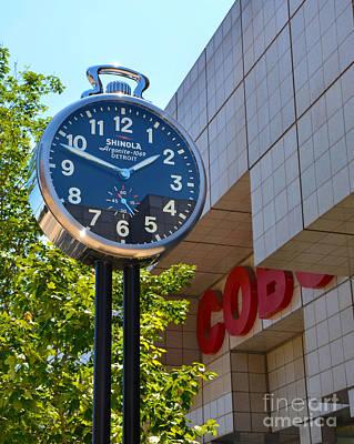 Detroit Photograph - Shinola City Clock Near Cobo Center In Detroit by Susan Montgomery