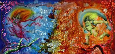 Thunder Painting - Shinto Gods by Luis  Navarro