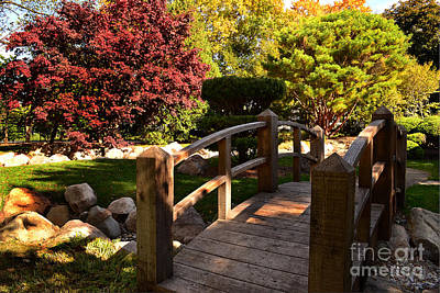 Garden Bridge Photograph - Shiojiri Niwa Wood Bridge by Amy Lucid
