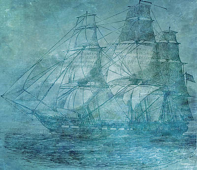Abstract Seascape Mixed Media - Ship 1 by Angelina Vick