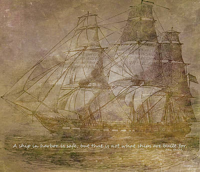 Beach Mixed Media - Ship 3 With Quote by Angelina Tamez