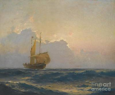 North Sea Painting - Ship At Dusk by Celestial Images