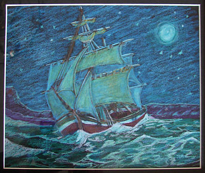 Art Print featuring the drawing Ship At Sea by Joseph Hawkins